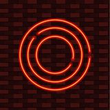 Neon Circles, Blank Frame VECTOR Template, Red and Yellow Colors, Brick Wall Background. Orange Circles Royalty Free Stock Images