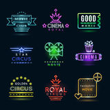 Neon circus and cinema or movie vector emblems Stock Photo