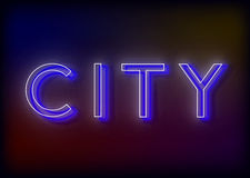 Neon Citi. Citi neon sign. Bright attracts the attention of a luminous sign saying - Citi Royalty Free Stock Images