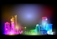 Neon city background Stock Image