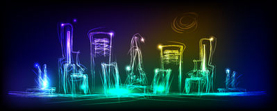 Neon city background Royalty Free Stock Photography