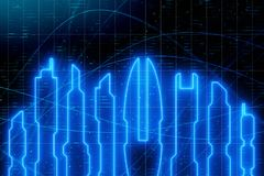 Neon city background vector illustration