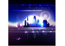 Neon city background Stock Photo