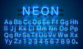 Neon city color blue font. English alphabet sign.