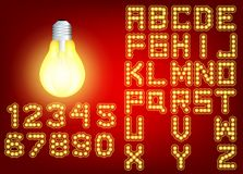 Neon city color red font. English alphabet and numbers sign royalty free illustration