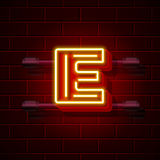 Neon city font letter E signboard. Vector illustration Stock Image