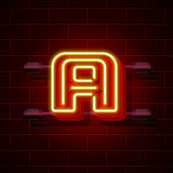 Neon city font letter A signboard. Vector illustration Royalty Free Stock Image