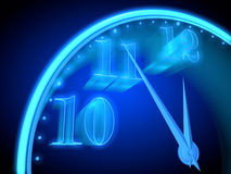 Neon clock. With a blue background indicate the imminent onset of a new year Stock Photos