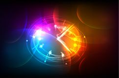 Neon clock background Royalty Free Stock Photo