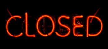 Neon Closed Sign. Orange and yellow neon closed sign royalty free stock photography