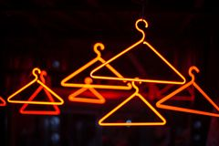 Neon Clothes Hanger royalty free stock photo