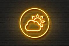 Neon cloud sun. Wall sign Royalty Free Stock Image