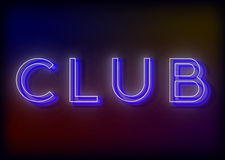 Neon Club. Club neon sign. Bright attracts the attention of a luminous sign saying - Club Royalty Free Stock Image