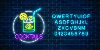 Neon cocktail glass sign in circle frame with alphabet. Glowing symbol of glass with alcohol shake. Neon cocktail glass sign in circle frame with alphabet on royalty free illustration
