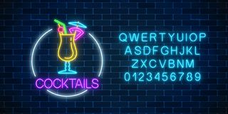 Neon cocktail glass sign in circle frame with alphabet. Glowing gas advertising with glass of alcohol shake. Drinking canteen banner. Night club invitation stock illustration
