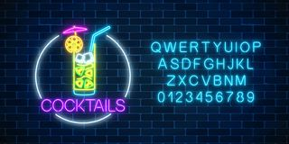 Neon cocktail glass sign in circle frame with alphabet. Glowing symbol of glass with alcohol shake. Drinking canteen banner. Night club invitation. Vector royalty free illustration