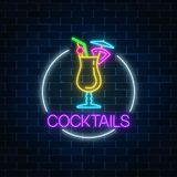 Neon cocktail glass sign in circle frame on dark brick wall background. Glowing gas advertising with alcohol shake. Neon cocktail glass sign in circle frame on stock illustration