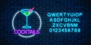 Neon cocktail sign in circle frame with alphabet. Glowing gas advertising with glass of alcohol shake. Neon cocktail sign in circle frame with alphabet on dark stock illustration
