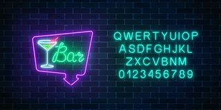 Neon cocktails bar or cafe sign in frame with alphabet. Glowing gas advertising with glass of alcohol shake. Neon cocktails bar or cafe sign in frame with Royalty Free Stock Photography
