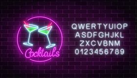 Neon cocktails bar sign with alphabet. Glowing gas advertising with glasses of alcohol shake. Neon cocktails bar sign with alphabet on dark brick wall Vector Illustration