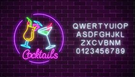 Neon cocktails bar sign with alphabet and two glasses of cocktails. Glowing gas advertising with glasses of alcohol. Neon cocktails bar sign with alphabet and Stock Illustration