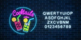 Neon cocktails bar sign in circle frame with alphabet. Glowing gas advertising with glasses of alcohol shake. Neon cocktails bar sign in circle frame with Royalty Free Stock Images