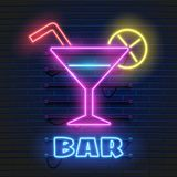Neon cocktails bar sign on dark brick wall background. Glowing gas advertising with glasses of alcohol shake. Drinking canteen. Banner. Night club invitation vector illustration