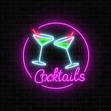 Neon cocktails bar sign on dark brick wall background. Glowing gas advertising with glasses of alcohol shake. Drinking canteen banner. Night club invitation Stock Illustration