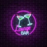 Neon cocktails lounge bar sign on dark brick wall background. Glowing gas advertising with glasses of alcohol shake. Drinking canteen banner. Night club Stock Illustration