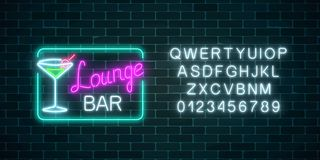 Neon cocktails lounge bar sign in rectangle frame with alphabet. Glowing gas advertising with glasses of alcohol shake. Drinking canteen banner. Night club vector illustration