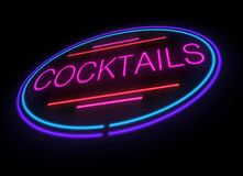 Neon cocktails sign. Illustration depicting an illuminated neon cocktails sign Stock Photography
