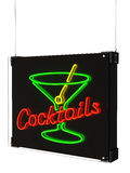 Neon Cocktails Sign with Martini Glass Royalty Free Stock Photography