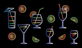Neon cocktails vector illustration Royalty Free Stock Photos