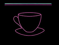 Neon coffee cup sign. Neon sign often found in the window of a coffee shop, cafe or diner Stock Images