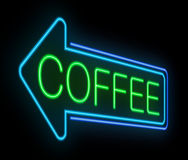 Neon coffee sign. Stock Image