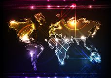 Neon collection, map Royalty Free Stock Photography