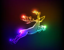 Neon collection, reindeer Christmas background Stock Images