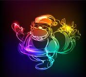 Neon collection, Santa Christmas background Stock Photos