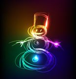 Neon collection, Snowman Christmas background Royalty Free Stock Photography