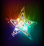 Neon collection, Star Christmas background Stock Images