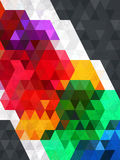 Neon color of triangle in black frame Royalty Free Stock Image