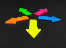 Neon colored arrows Royalty Free Stock Photos