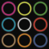 Neon colored circles. Abstract glowing light rounded banners. Vector. Stock Photos