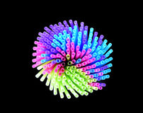 Neon colored drinking straws on black background Stock Photo