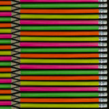 Neon colored pencils. All in a line isolated on black Stock Photography