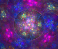 Neon colored rainbow texture with glowing psychedelic spots. Bla. Ck abstract background with round hole in kaleidoscope fractal pattern Stock Photos