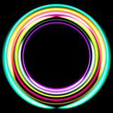 Neon colored rings. Retro disco background. Royalty Free Stock Photos