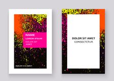 Neon colorful explosion paint splatter artistic covers design. Decorative bright texture splash spray black white backgrounds. Trendy template vector Cover royalty free illustration