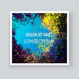 Neon colorful explosion paint splatter artistic covers design. Decorative bright texture splash spray on blue backgrounds. Trendy template vector for Cover stock illustration