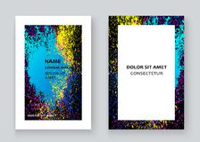 Neon colorful explosion paint splatter artistic covers design. Decorative bright texture splash spray on blue white backgrounds. Trendy template vector Cover stock illustration